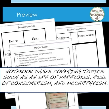 The 1950s Interactive Notebook Graphic Organizers for the 1950s