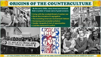The 1960's Counterculture Revolution PP Notes for U.S. History Class