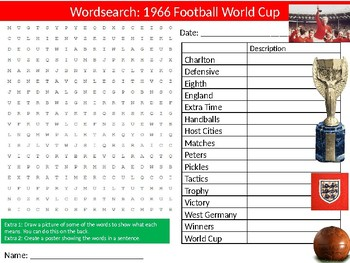 The 1966 Football  World Cup Wordsearch Sheet Starter Activity Keywords PE