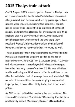 The 2015 Thalys train attack Handout