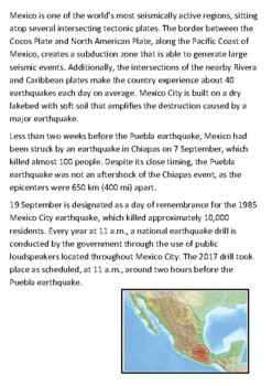 The 2017 Puebla Mexico Earthquake Handout