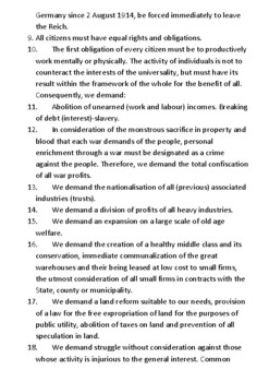 The Nazi 25-point Programme Handout