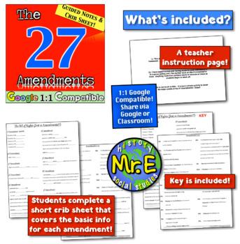 The 27 Amendments! Guided Notes & Crib Sheet to teach Amendments! Google 1:1!