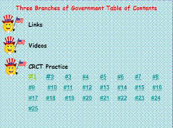 The 3 Branches of Government 4th Grade CRCT Practice