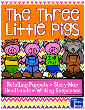 The 3 Little Pigs - Retelling Puppets - Story Map - Headbands - Writing Response