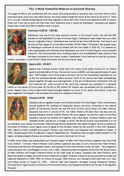 The 3 Most Powerful Women in Ancient History - Reading Comprehension