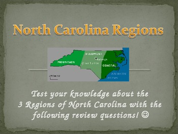 The 3 Regions of North Carolina Review Game