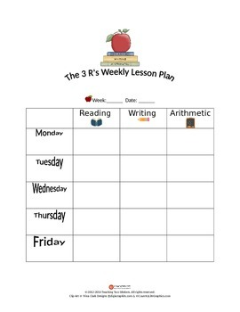 The 3 R's Kindergarten Lesson Plan Template