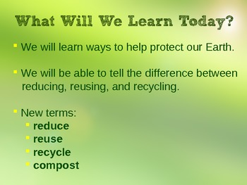 The 3 Rs: Reduce Reuse Recycle PowerPoint
