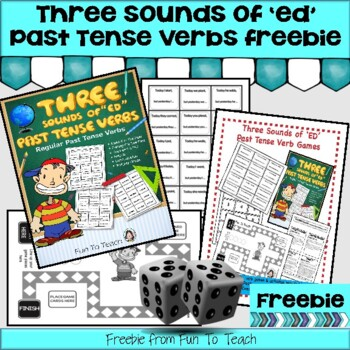 """The 3 Sounds of """"ed"""" Past Tense freebie Verb Game"""