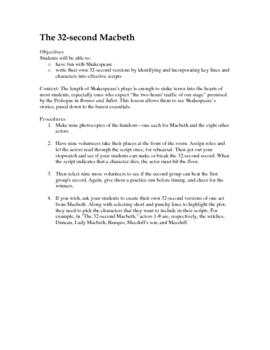 The 32 Second Macbeth: a fun activity