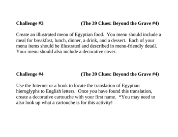 """""""The 39 Clues: Beyond the Grave (Book 4)"""", Project Challenges"""