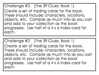 """""""The 39 Clues: The Maze of Bones"""" (Book 1) Project Challenges"""