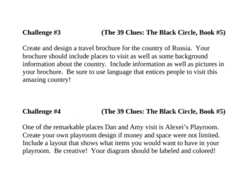 """""""The 39 Clues: The Black Circle"""" (bk 5), Project Challenges"""