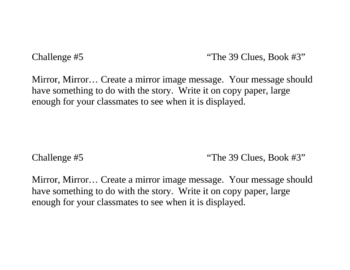 """""""The 39 Clues: The Sword Thief (Book 3)"""" Challenges"""