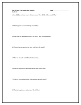 """The 39 Clues (The Sword Thief)"", Book 3 Comprehension Questions"