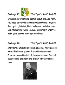 """The 39 Clues: The Viper's Nest"" (book 7), Project Challenges"