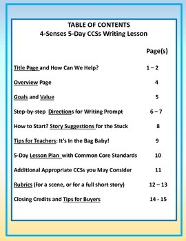 """The """"4-Senses,"""" A Guided Story-Writing Lesson"""