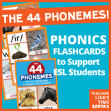 The 44 Phonemes Flashcards: Sounds of English - To Support ESL Learners