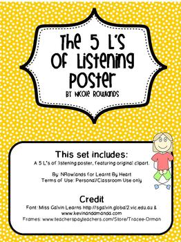 The 5 L's of Listening Poster - Good Listening Skills