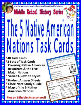 The 5 Native American Nations Task Card Set, Study Guide,