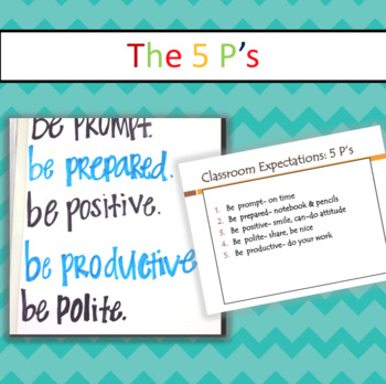 The 5 P's Classroom Management Wall Display