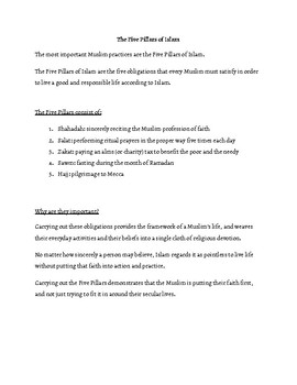 The 5 Pillars of Islam Reading and Questions