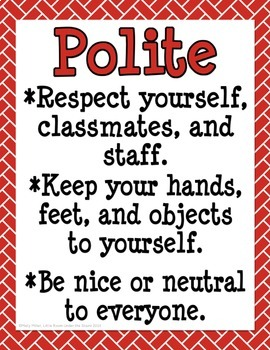 The 5 P's Classroom Rules: Red, White, Black {free}