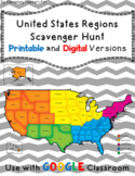 The 5 Regions of the United States- Scavenger hunt -Distan