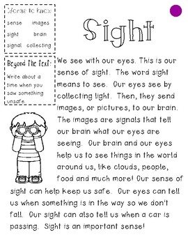 The 5 Senses Differentiated Guided Reading Passages