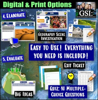 5 Themes of Geography Walkaround Activity and 5-E Lesson