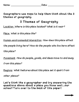 The 5 Themes of Geography worksheet by Shana Keane | TpT