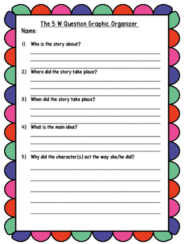 The 5 W Questions Graphic Organizer