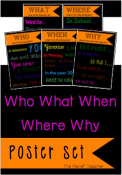 The 5 Ws Poster Set: Who, What, When, Where, Why!