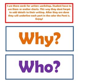 The 5 Ws for questioning reading and writing