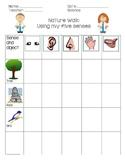 The 5 senses nature walk checklist in English