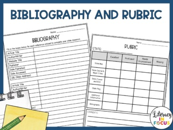 The 50 States Workbook- State Research Pages, Bibliography Template, & Rubric!