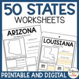 50 States Worksheets   Activities   Printable & Digital   Google Classroom