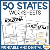 50 States Worksheets | Activities | Printable & Digital |