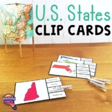 The 50 United States Geography Pick 'n Flip Clip Cards Map Center Activity