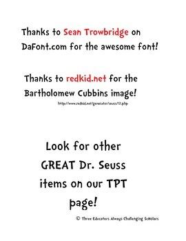 The 500 Hats of Bartholomew Cubbins Math Page!