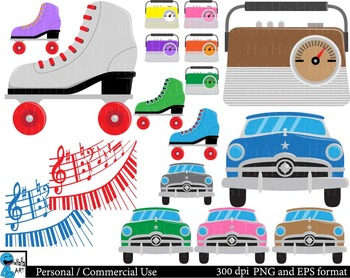 The 50's - Digital Clip Art Graphics - 131 images cod73