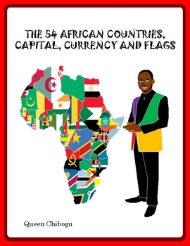 The 54 African Countries with capitals, currency name, currency codes and flags