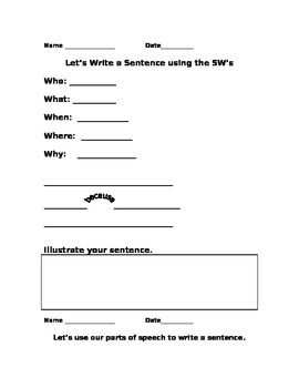 The 5W way to writing a complete sentence, including parts of speech!