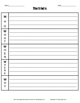 The 5ws graphic orqanizer  Who What Where when and why organizer