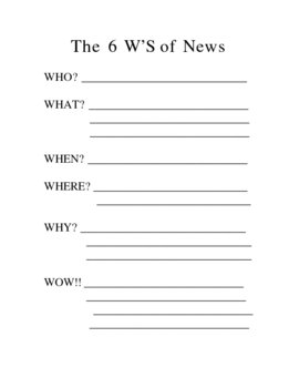 The 6 W's of News