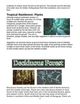 The 6 land biomes of the earth packet