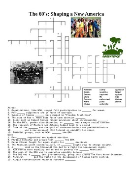 The 60's Culture: Shaping a New America Crossword