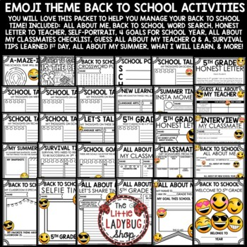 Emoji Back To School Activities 5th Grade- All About Me Poster & More
