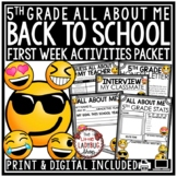 Emoji Back To School Activities 5th Grade- All About Me & First Week of School